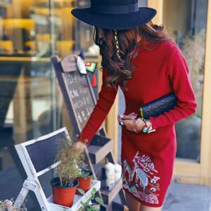 【2件8折/3件7折】裂帛女装2018秋卡通刺绣立领盘扣旗袍式毛织长袖连衣裙女