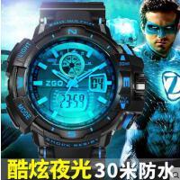 日历三针大表盘多功能学生夜光表儿童电子表防水运动男孩男童手表
