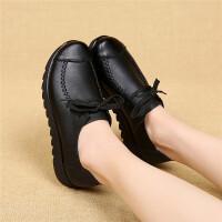 百搭工作鞋女黑色平底软底女士皮鞋春秋新款妈妈鞋系带单鞋子 黑色 系带黑色