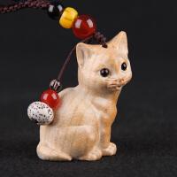 招财猫挂件项坠绳招财转运护身保平安桃木猫钥匙扣