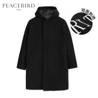 太平鸟男装 冬季连帽羊毛大衣英文刺绣外套中长款时尚黑色呢大衣