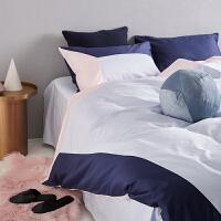 原创拼接床上四件套全棉纯棉简约北欧风床单四件套床上用品ins风
