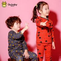 歌歌宝贝冬季新款儿童保暖加绒宝宝内衣套装1-7岁婴儿秋衣套装加绒婴儿卡通风格