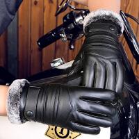 皮手套男冬季骑行加绒加厚防风防水触屏保暖户外电动摩托车棉手套