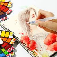 秀普扇形固体水彩颜料套装18色25色33色42色初学者手绘透明写生便携折叠彩画颜料自来水笔画笔绘画工具水彩画