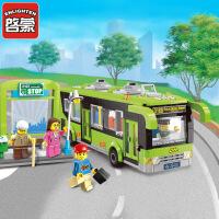 启蒙积木男孩拼装玩具模型6岁-12岁儿童益智玩具城市公交车1121