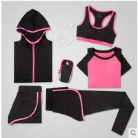 女时尚训练跑步健身房瑜伽服速干衣运动套装大码显瘦短裤五件套