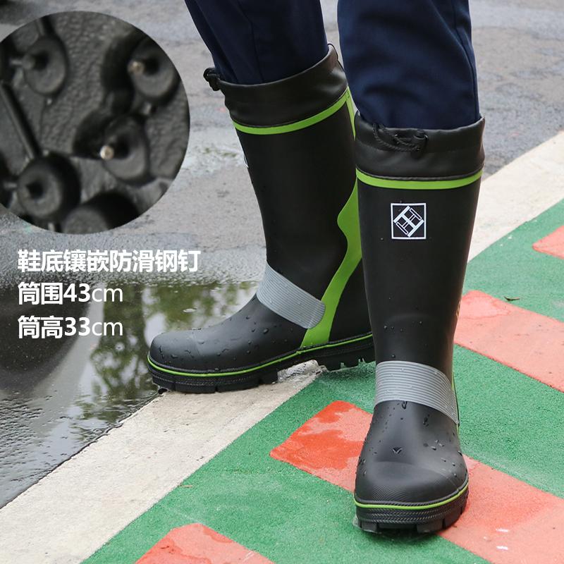 雨鞋男 超防滑高筒防水鞋男士 高帮耐磨水靴户外钓鱼胶鞋套鞋 绿色 高筒33cm