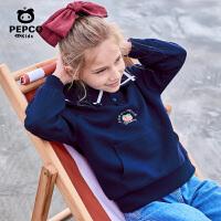 【2件7折到手价:147】小猪班纳童装女童翻领卫衣2021春季新款儿童长袖上衣休闲学院风潮