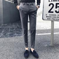 秋季青年英伦绅士风修身小脚西裤男士商务简约休闲发型师长裤子潮