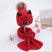 儿童帽子围巾两件套装针织冬季猫咪保暖男童女童秋冬中童大童