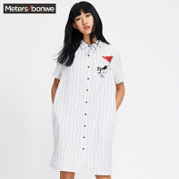 美特斯邦威衬衫女纯棉休闲宽松长款夏装短袖衬衫225581