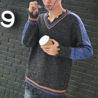 秋冬长袖毛衣男士针织衫V领青少年秋季韩版休闲修身型套头2017