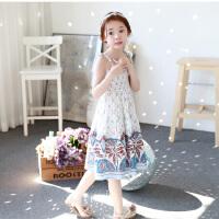 夏新品韩版童装连衣裙女童波西米亚长裙吊带裙