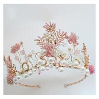 新款小清新发饰珍珠皇冠头饰新娘结婚饰品公主王冠配饰