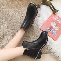 靴子女2019秋款韩版粗跟中跟时尚英伦短靴女春秋单靴百搭马丁靴女 黑色