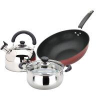 美厨(maxcook)炒锅汤锅水壶 锅具三套装MCSH-03 电磁炉通用