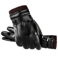 触屏保暖防水防风防寒户外骑行摩托车开车薄款加绒皮手套男士冬季 均码