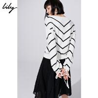 【超品日2折价119.8元】Lily春新款女装简约V领条纹宽松灯笼袖毛针织衫118450B8334