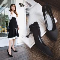 猫跟女鞋黑色工作鞋细跟中跟高跟鞋女蝴蝶结尖头单鞋2019春季新款