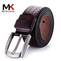 莫尔克(MERKEL)新款时尚牛皮男士腰带休闲针扣真皮商务男款皮带牛仔裤带