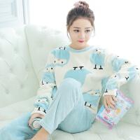 冬季珊瑚绒睡衣女士长袖加厚法兰绒秋天韩版甜美可爱清新学生套装 天蓝色 66027企鹅