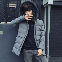 冬季新款 加厚中长款貉子毛领外套白鸭绒韩版羽绒服男长袖休闲保暖外套