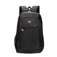 电脑包登斯雅双肩商务休闲旅行背包多功能书包电脑包 黑色 17寸