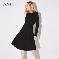 Amii极简时尚温柔风一字领连衣裙女2018秋装新款修身长袖显瘦裙子