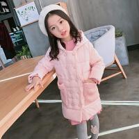 冬季新款女童毛线口袋双排扣棉衣儿童中大童厚外套