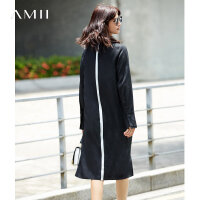 Amii[极简主义]2017秋装新款大码排扣配腰带印花连衣裙11774582