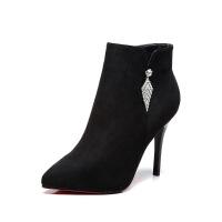 №【2019新款】冬天美女穿的短靴女细跟尖头高跟鞋女百搭靴子女冬英伦马丁靴