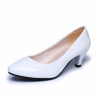 工作鞋女黑色软皮高跟鞋职业面试白色中粗跟工装鞋礼仪鞋大码女鞋 白色 5cm