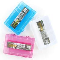 马利半透明收纳箱G3743B 全透明多用途铅笔盒G38020 学生工具箱