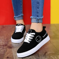 春秋帆布鞋女板鞋黑色蓝色粉色平底中学生大童运动鞋韩版小黑鞋女