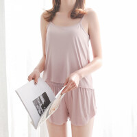 莫代尔韩版夏季性感吊带短裤女薄款睡衣两件套大码春秋家居服套装