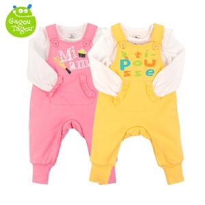 【加拿大童装】Gagou Tagou婴幼儿女宝宝纯棉背带裤T恤套装休闲套装外出服