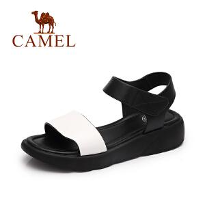 Camel/骆驼女鞋 春夏新款百搭松糕厚底松糕鞋女 魔术贴简约凉鞋