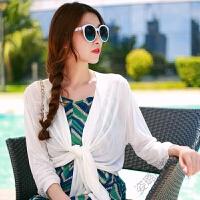 夏季新短款外搭薄款针织衫女开衫沙滩防晒衣披肩空调衫宽松短外套 白色 均码