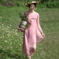 生活在左2018春秋季装新款文艺真丝连衣裙女装桑蚕丝长袖中长裙子