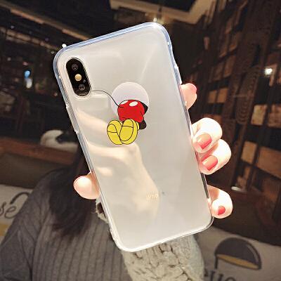 卡通手机壳苹果xs max透明软壳8/7plus创意情侣6/xr硅胶套 i6/6s 透明软壳 趴洞米奇