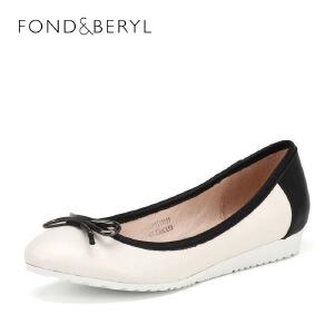 【3折到手价149.7元】菲伯丽尔(Fondberyl) 羊皮坡跟圆头时尚单鞋FB61111251