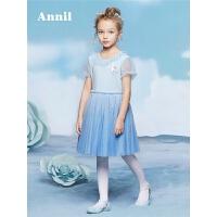 安奈儿童装女童连衣裙2018夏新款迪士尼爱莎公主蓬蓬裙EG823282