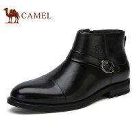 camel 骆驼男鞋冬季加绒保暖内里商务正装男鞋皮靴子