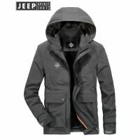吉普Jeep夹克男加绒加厚保暖茄克衫可脱卸帽防风防寒户外休闲外套2018冬季新款