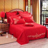 【人气】放心购 官方旗舰店婚庆床单单件大红色欧式刺绣夹棉结婚纯棉1.5m双人1.8m床上用品全