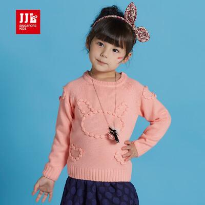 季季乐春秋新款纯色儿童针织衫女童套头毛衣中小童打底衫GQM63078