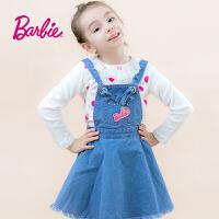 【满减】芭比童装女童春装背带牛仔裙中大童俏皮可爱大裙摆裙子