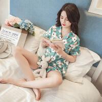 睡衣女夏季韩版清新学生甜美可爱短袖纯棉家居服两件套装冰丝宽松