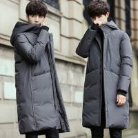 时尚男长款羽绒服男修身加厚冬装过膝长款羽绒外套白鸭绒韩版潮流男装